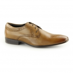 PULLMAN Mens Leather Lace Up Derby Shoes Tan