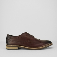 RUSSELL Mens Leather Lace Up Derby Brogues Brown