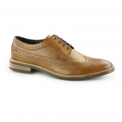 RUSSELL Mens Leather Lace Up Derby Brogues Tan