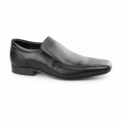 SAXON Mens Slip On Leather Chisel Toe Shoes Black
