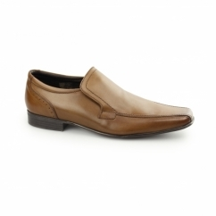 SAXON Mens Slip On Leather Chisel Toe Shoes Tan