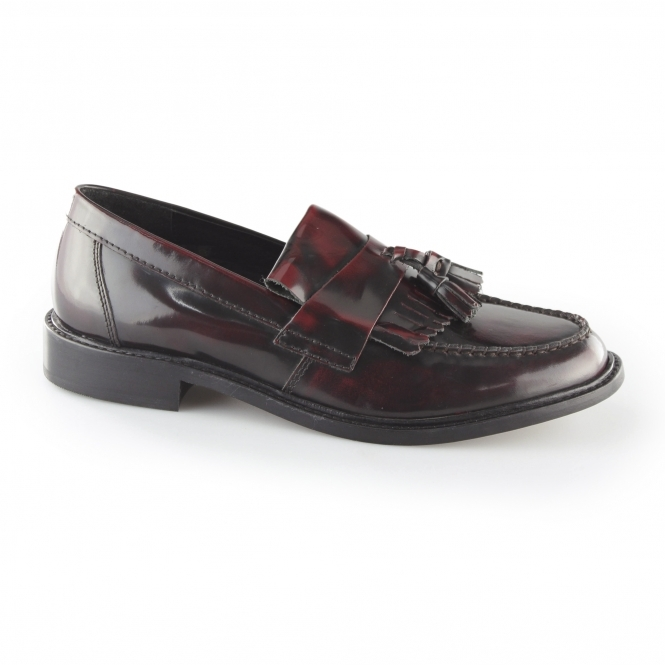 68736cd3121 SELECTA II Mens Polished Leather Tassel Loafers Oxblood