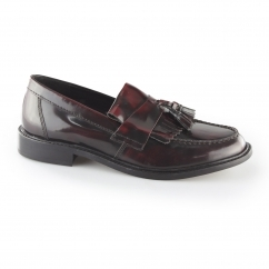 SELECTA II Mens Polished Leather Tassel Loafers Oxblood