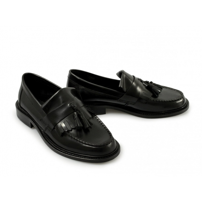 a65a5924dd650 IKON SELECTA Womens Ladies Tassel Penny Loafers Black | Buy At Shuperb