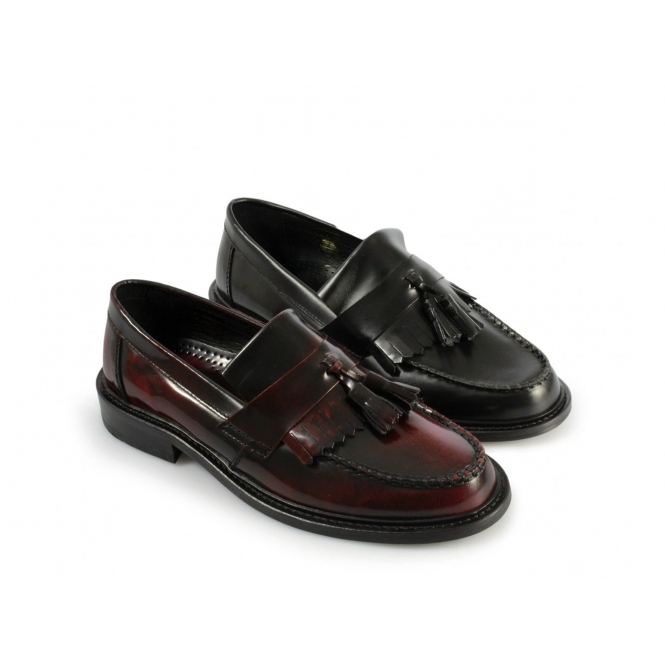 2068c2f15a0 Ikon SELECTA Ladies Polished Leather Tassel Loafers Black