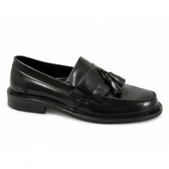 SELECTA Ladies Polished Leather Tassel Loafers Black