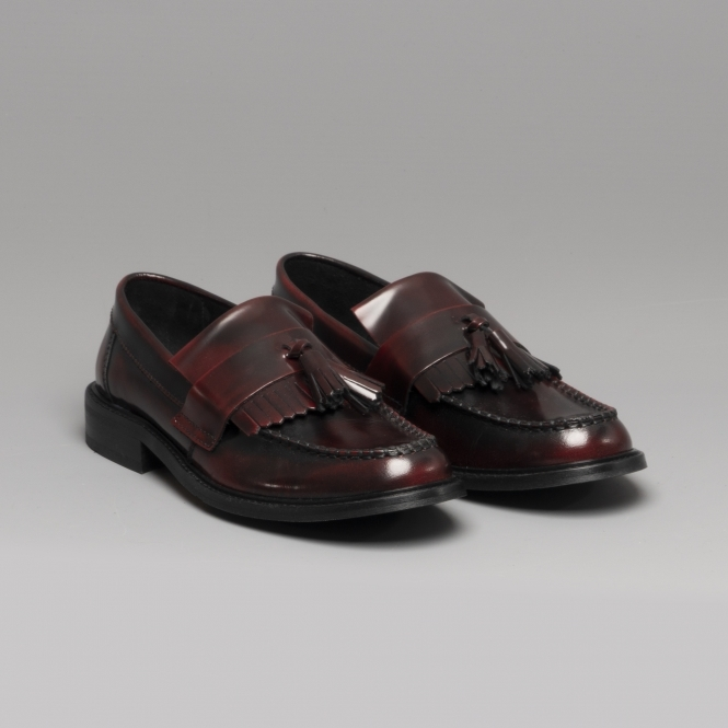 4648941577c Ikon SELECTA Ladies Polished Leather Tassel Loafers Oxblood