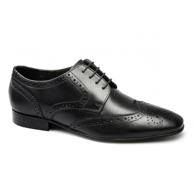 Ikon STATHAM Mens Leather Lace Up Brogue Shoes Black