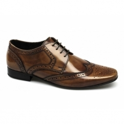 STATHAM Mens Leather Lace Up Brogue Shoes Hi Shine Tan