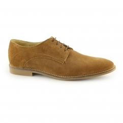 STEWART Mens Suede Lace Up Derby Shoes Cognac