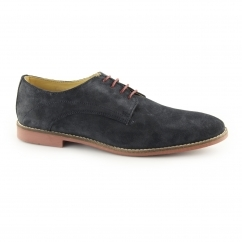 STEWART Mens Suede Lace Up Derby Shoes Navy