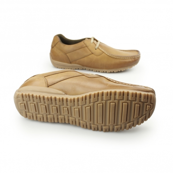 Ikon Tide Lace Up Leather Moccasin Shoes Tan