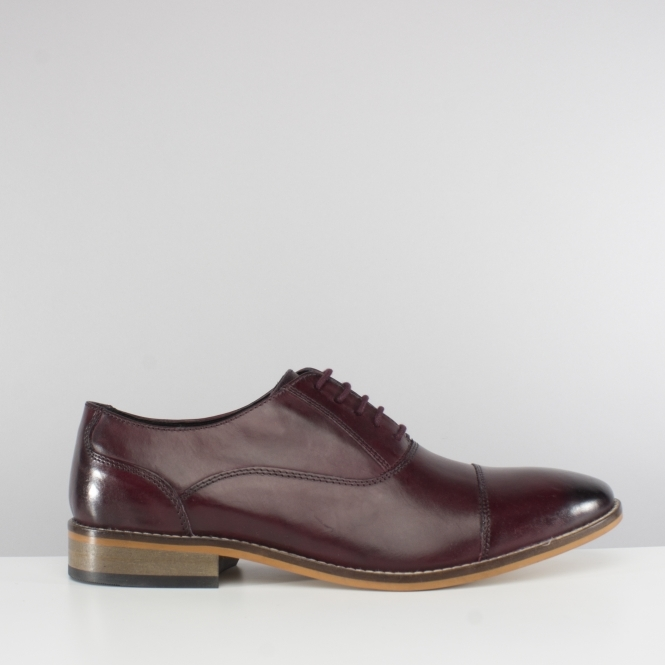 Ikon TOBY Mens Leather Toe Cap Shoes Bordo