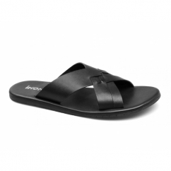 TRURO Mens Leather Slip On Mule Sandals Black