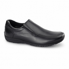 WAVE Unisex Leather Slip-On Loafers Black