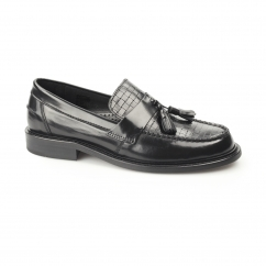 Mens WEAVER Mens Polished Leather Comfy Tassel Loafers Black