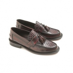 WEAVER Mens Polished Leather Tassel Loafers Bordo