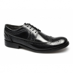 YORKE Mens Leather Brogue Shoes Black