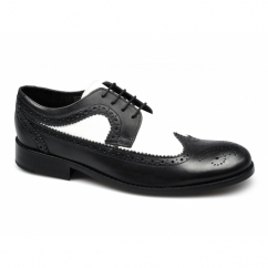 YORKE Mens Leather Brogue Shoes Black & White