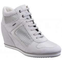 GEOX ILLUSION B Ladies Suede Wedge Heeled Trainer Shoes White