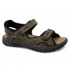 JOSH Mens Leather Double Velcro Sports Sandals Brown