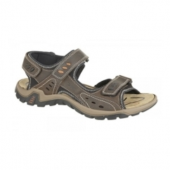 LUCAS Mens Leather Velcro Padded Sports Sandals Brown
