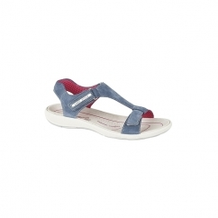 SUSIE Ladies Velcro Suede T-Bar Sandals Denim
