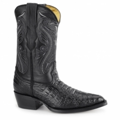 INDIANA Ladies Croc Leather Cuban Heel Cowboy Boots Black