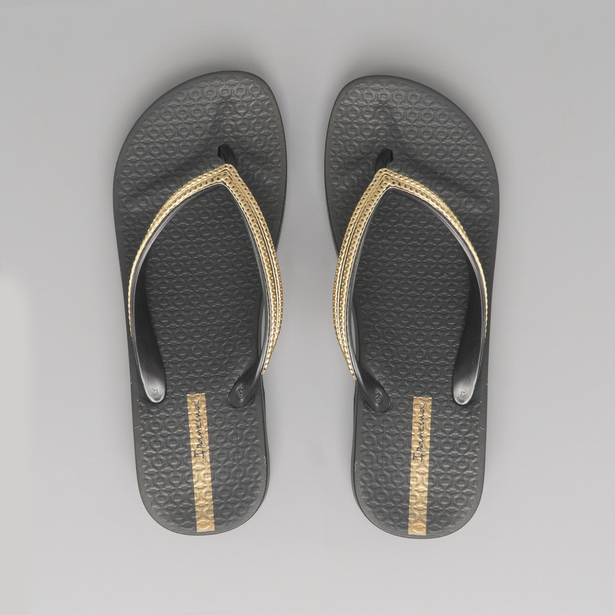 4f6ba1700 Ipanema MESH WEDGE 21 Ladies Wedge Flip Flops Black Gold