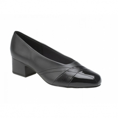 IRENE Ladies Faux Leather Block Heel Court Shoes Black