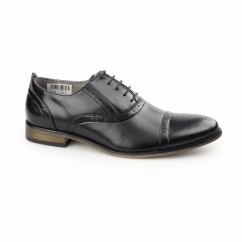 ISAAC Mens PU Lace Up Oxford Brogue Shoes Black