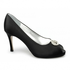 ISABEL Ladies Satin Diamante Stiletto Shoes Black