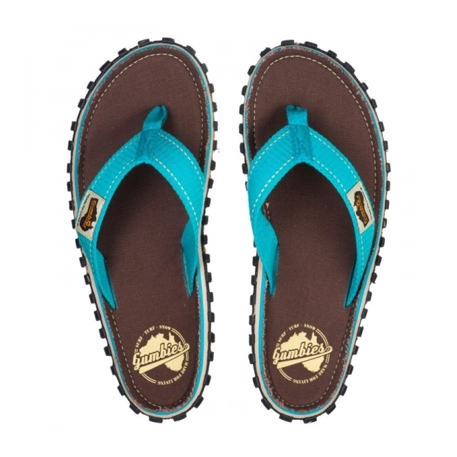 Gumbies ISLANDER Unisex Canvas Flip Flops Retro Brown