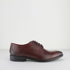 Base London IVY Mens Burnished Leather Derby Shoes Rosewood