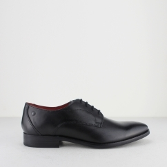 Base London IVY Mens Waxy Leather Derby Shoes Black