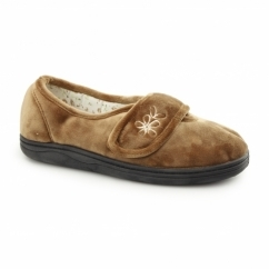 IZZIE Ladies Touch Fasten Full Slippers Biscuit