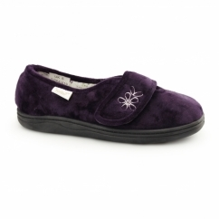 IZZIE Ladies Touch Fasten Full Slippers Purple
