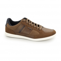 BELMONT Mens PU/Canvas Trainers Bison