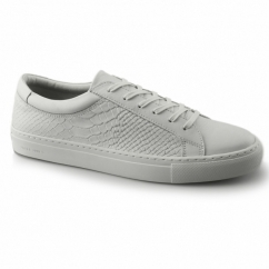 GALAXY Mens Leather Reptile Trainers Bright White