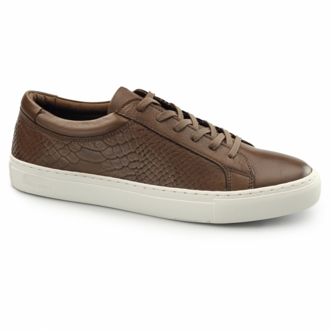 Jack & Jones GALAXY Mens Leather Reptile Trainers Cognac