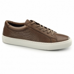 GALAXY Mens Leather Reptile Trainers Cognac