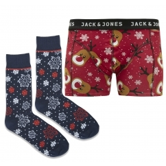JACX-MAS Mens Trunks & Socks Giftbox Scarlet Sage/Reindeer