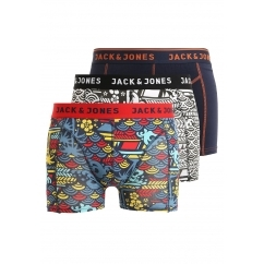 Jack & Jones JAPANESE Mens Patterned Trunks 3 Pack Burnt Ochre/Sulphur
