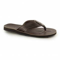 Jack & Jones JFWBOB Mens Leather Flip Flops Brown