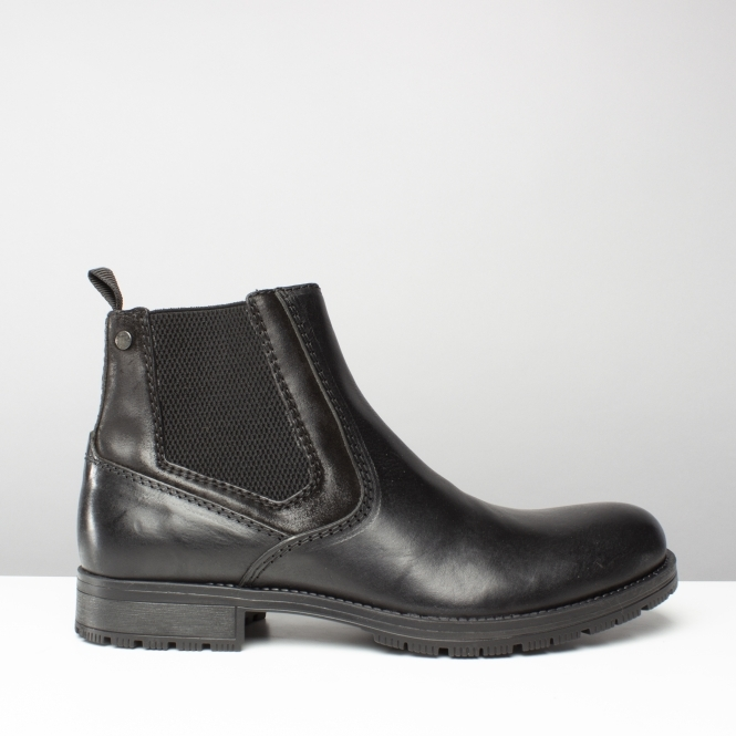 e778460aac1 JFWCARSTON COMBO Mens Leather Pull On Chelsea Boots Anthracite