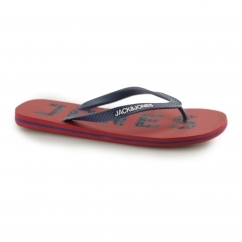 JFWLOGO Mens Toe Post Flip Flops Barbados Cherry