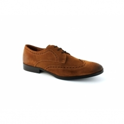 JJ BILLY Mens Suede Brogue Shoes Cognac