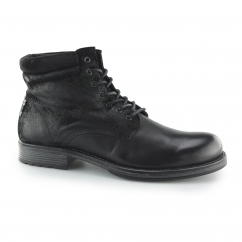 Jack & Jones JUSTIN Mens Leather/Suede Lace-Up Derby Boots Anthracite