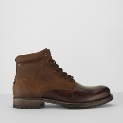 Jack & Jones JUSTIN Mens Leather/Suede Lace-Up Boots Brown Stone