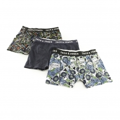 LOGO Mens Trunks 3 Pack Black/Black & White